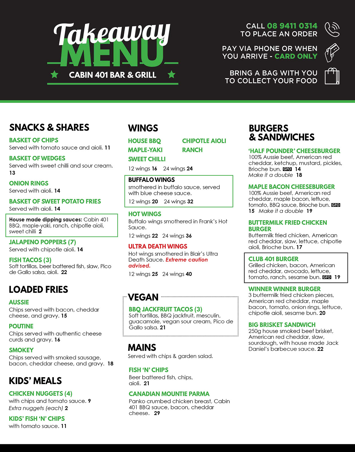 Takeaway menu for Cabin 401 Bar & Grill in Bibra Lake.